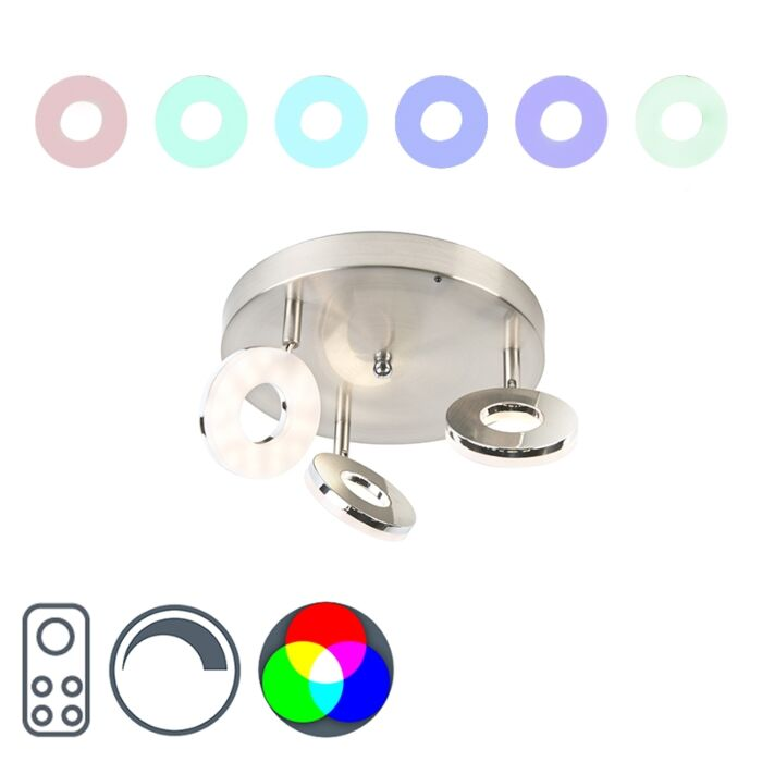 Modern-Round-Ceiling-Spotlight-3-Steel-with-RGBW-incl.-LED---Chief