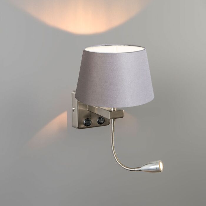 Wall-Lamp-Brescia-Combi-Steel-with-20cm-Shade-Light-Grey