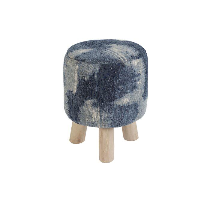 Vintage-Round-Pattern-Stool-Blue-30x30x40cm---Puri