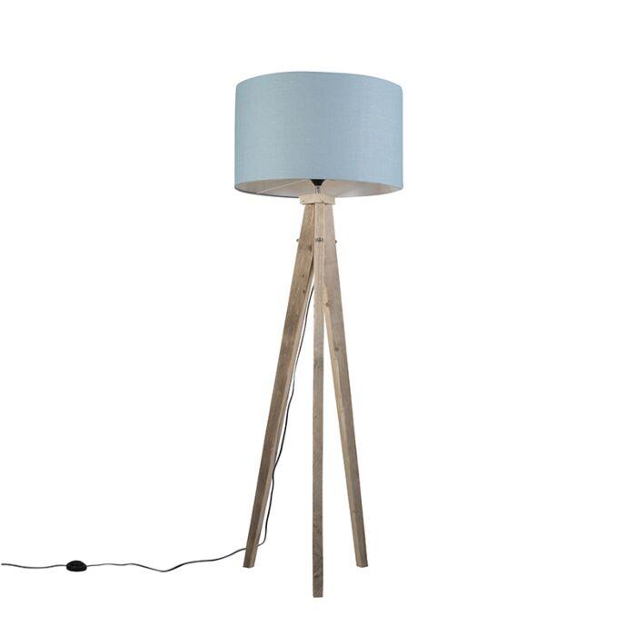 Floor-Lamp-Tripod-Karos-Natural-with-Shade-55cm-Blue