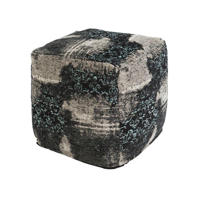 Vintage-Square-Ottoman-Pattern-Black/Beige/Turquoise-45x45x45cm---Puri