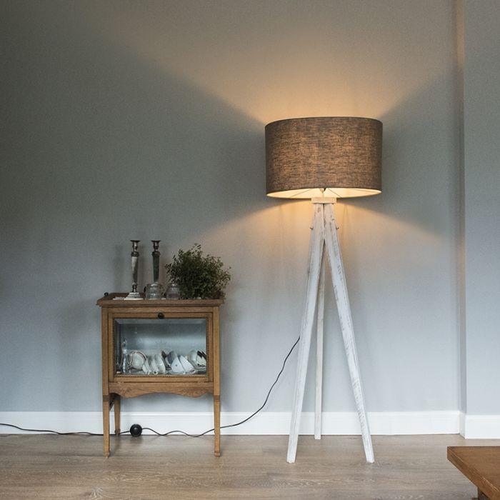 Floor-Lamp-Tripod-Karos-White-with-Shade-55cm-Antique-Grey