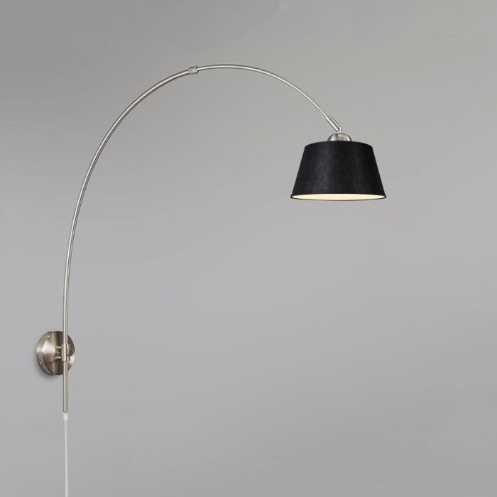 Arc-Wall-Lamp-Steel-with-20cm-Shade-Black