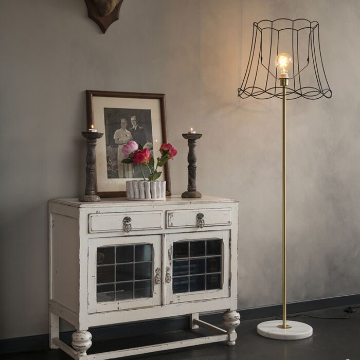 Retro-floor-lamp-brass-with-Granny-frame-black-45-cm---Kaso