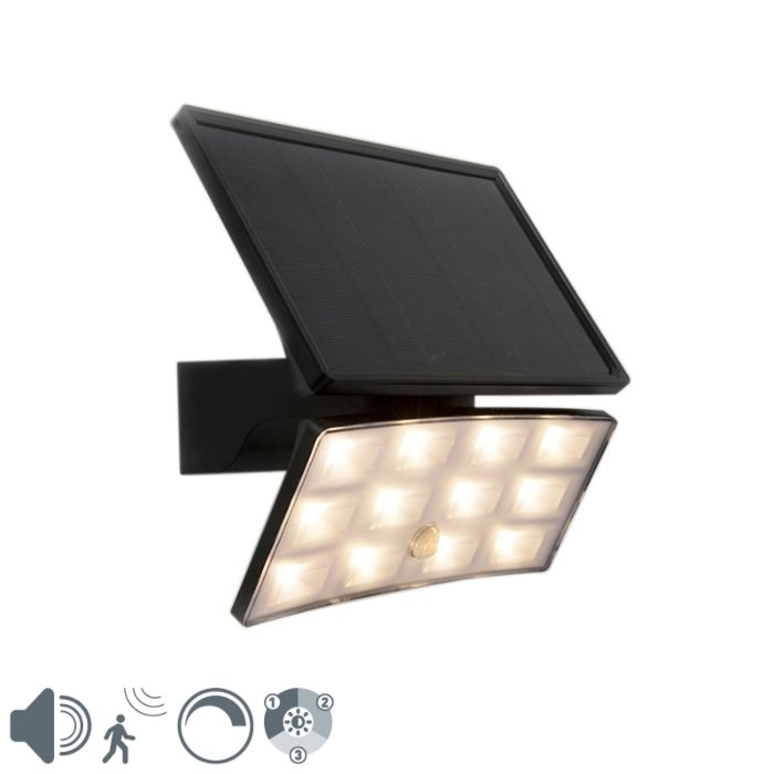 Spotlight-black-IP44-incl.-LED-with-movement-sensor-8W---Flip
