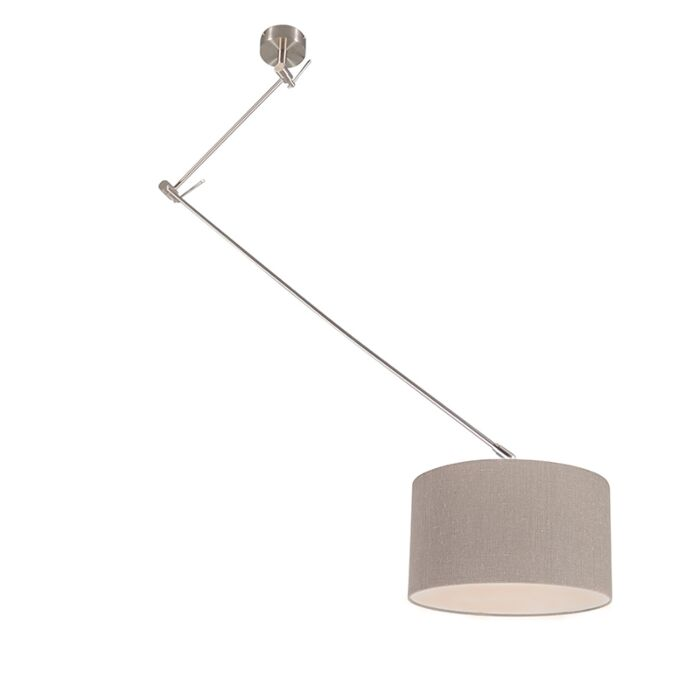 Hanging-lamp-steel-with-shade-35-cm-old-gray-adjustable---Blitz-I