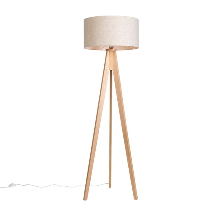 Floor-Lamp-Tripod-Classic-Natural-with-Cylinder-Shade-Leaf
