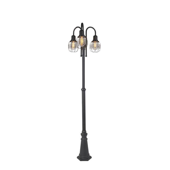 Rural-outdoor-lamp-black-3-light-IP44---Guardado