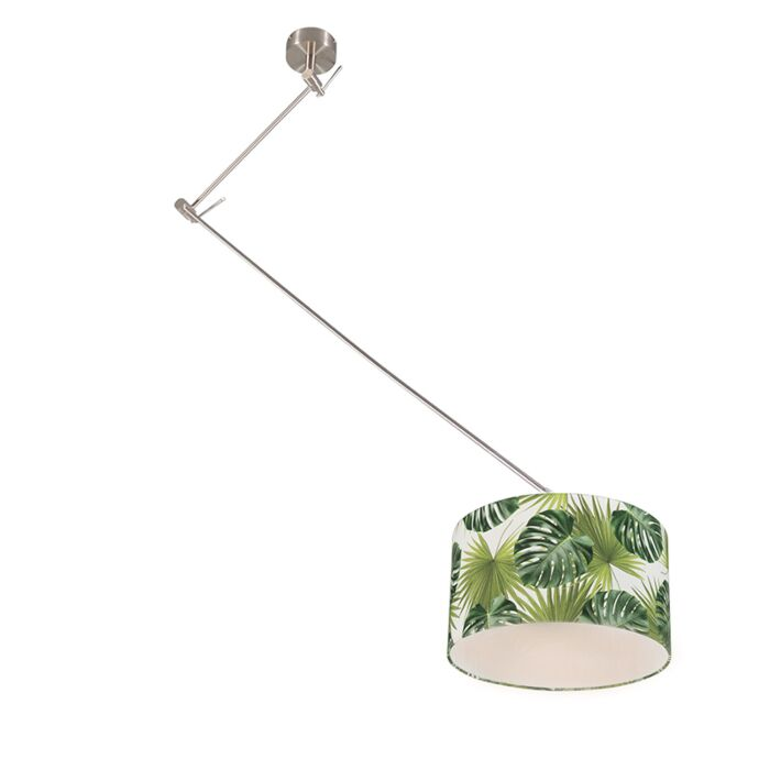 Modern-hanging-lamp-steel-with-leaf-shade-35-cm---Blitz-1