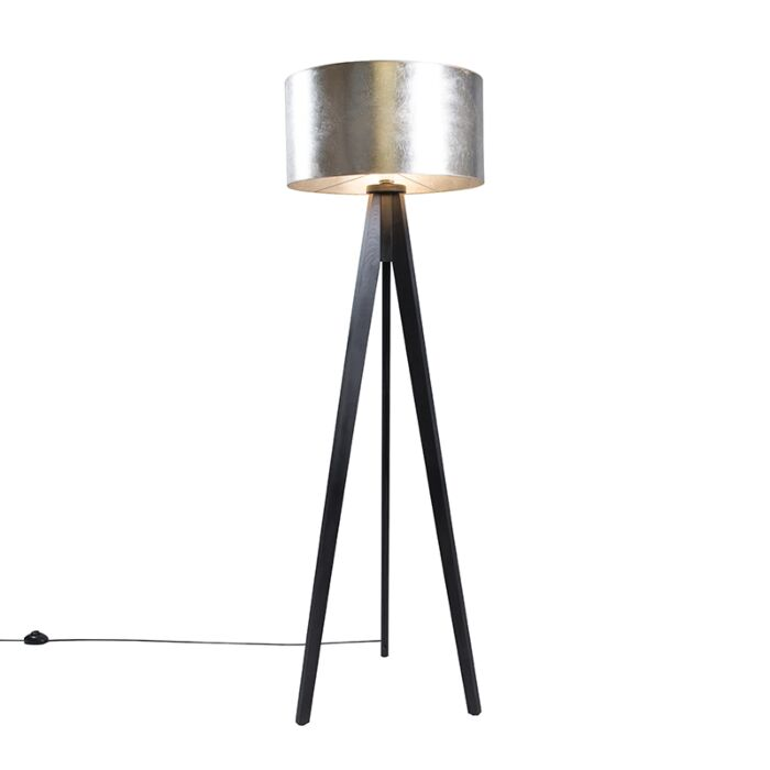 Floor-Lamp-Tripod-Classic-Black-with-Silver-Brown-Cylinder-Shade