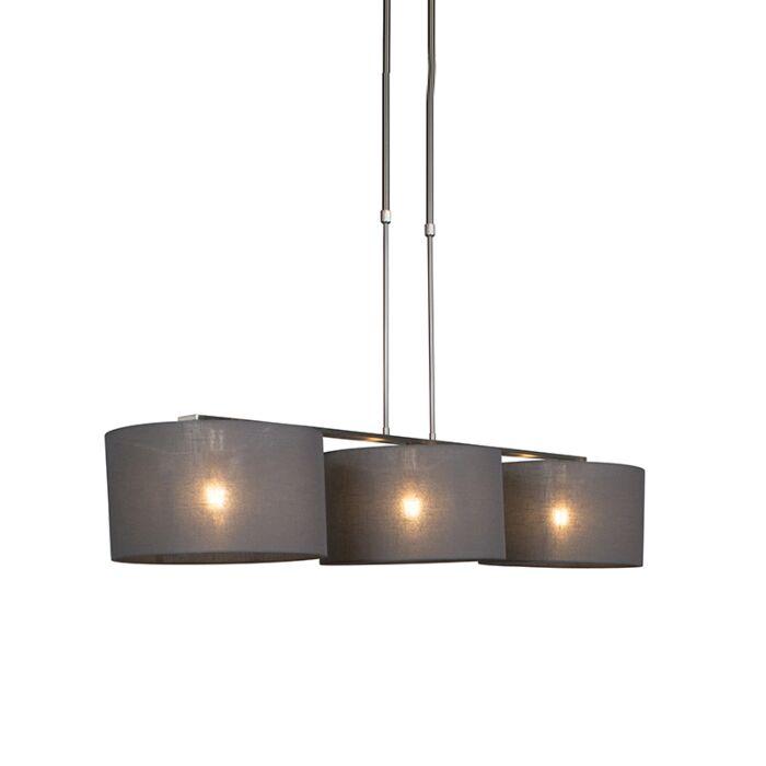 Hanging-lamp-steel-with-shade-35-cm-dark-gray---Combi-3-Deluxe