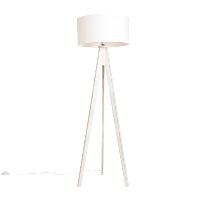 Floor-Lamp-Tripod-Classic-White-with-Cylinder-Shade-Off-White