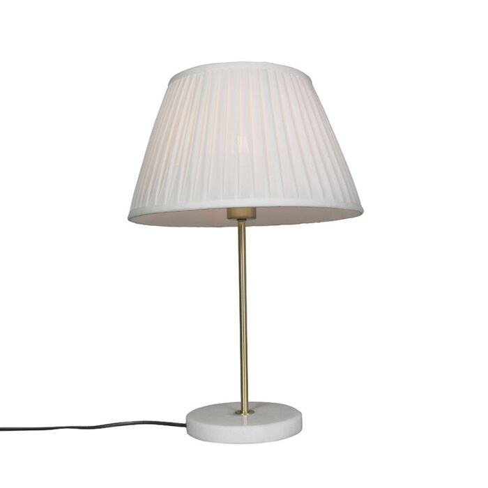 Retro-table-lamp-brass-with-Pleated-shade-cream-35-cm---Kaso