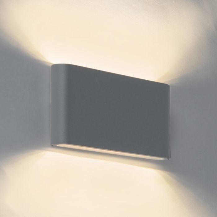 Modern-Wall-Lamp-17.5cm-Graphite-IP54-incl.LED---Batt