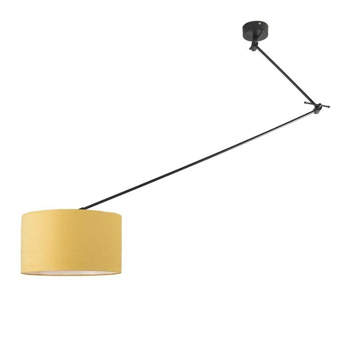 Hanging-lamp-black-with-shade-35-cm-yellow-adjustable---Blitz-I