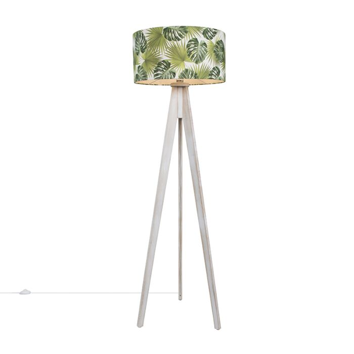 Floor-Lamp-Tripod-Classic-White-with-Leaf-Cylinder-Shade