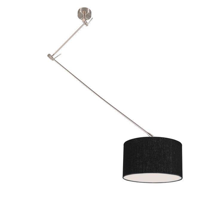 Hanging-lamp-steel-with-shade-35-cm-black-adjustable---Blitz-I