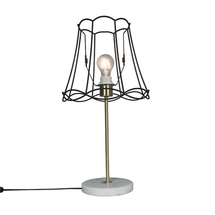 Retro-table-lamp-brass-with-Granny-frame-black-30-cm---Kaso