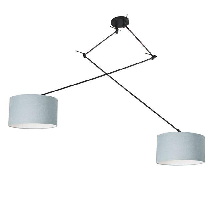 Hanging-lamp-black-with-shade-35-cm-light-blue-adjustable---Blitz-II