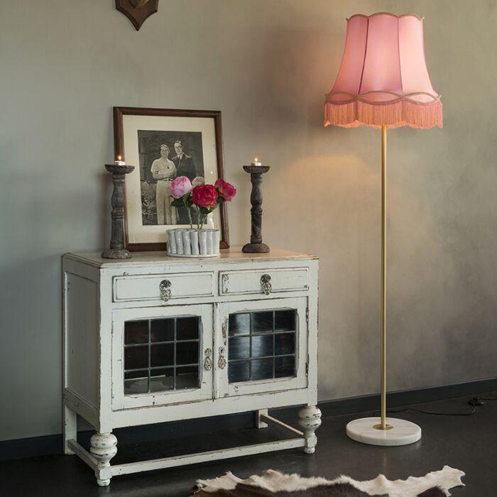 Retro-floor-lamp-brass-with-Granny-shade-pink-45-cm---Kaso