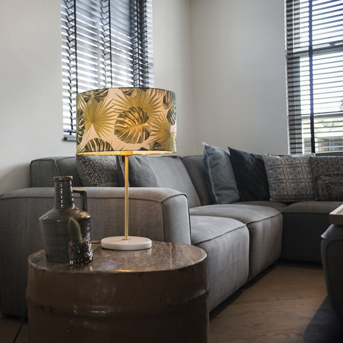 Modern-brass-table-lamp-with-leaf-shade-35-cm---Kaso