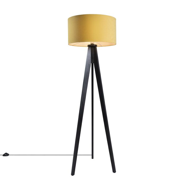 Floor-Lamp-Tripod-Classic-Black-with-Maize-Cylinder-Shade