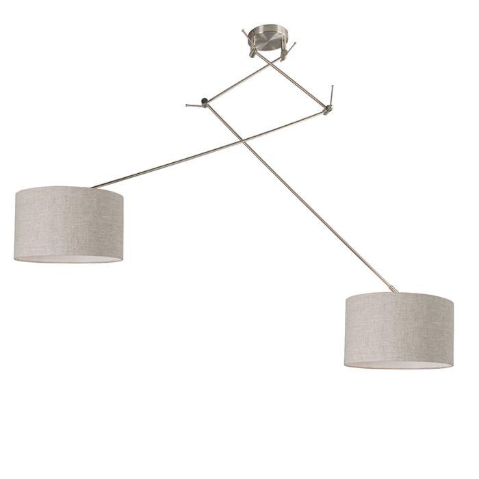 Hanging-lamp-steel-with-shade-35-cm-light-gray-adjustable---Blitz-II