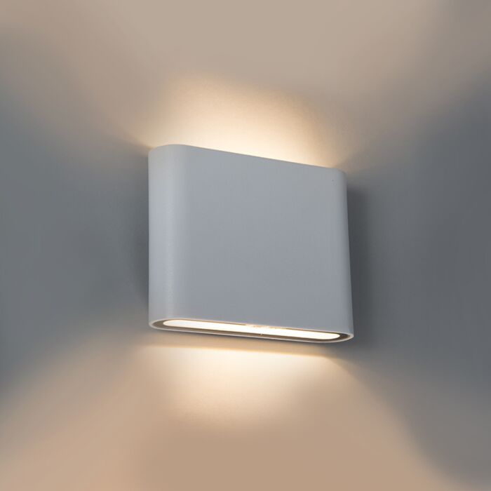 Modern-Wall-Lamp-11.5cm-White-IP54-incl.LED---Batt
