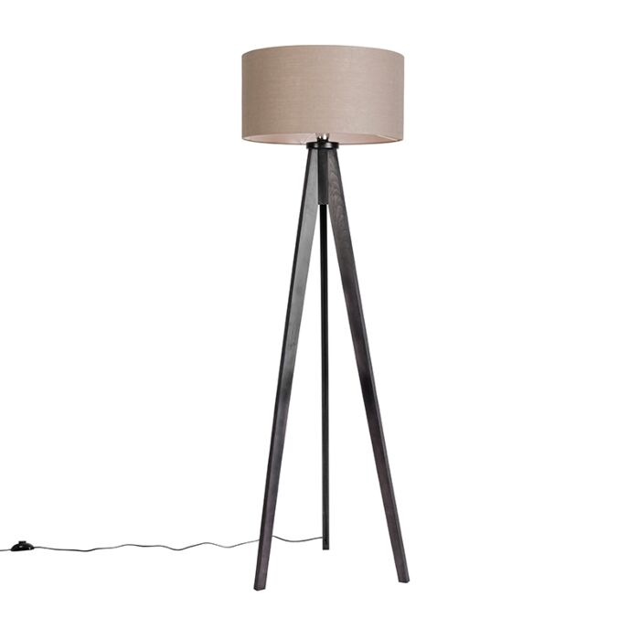 Floor-Lamp-Tripod-Classic-Black-with-Cylinder-Shade-Antique-Grey