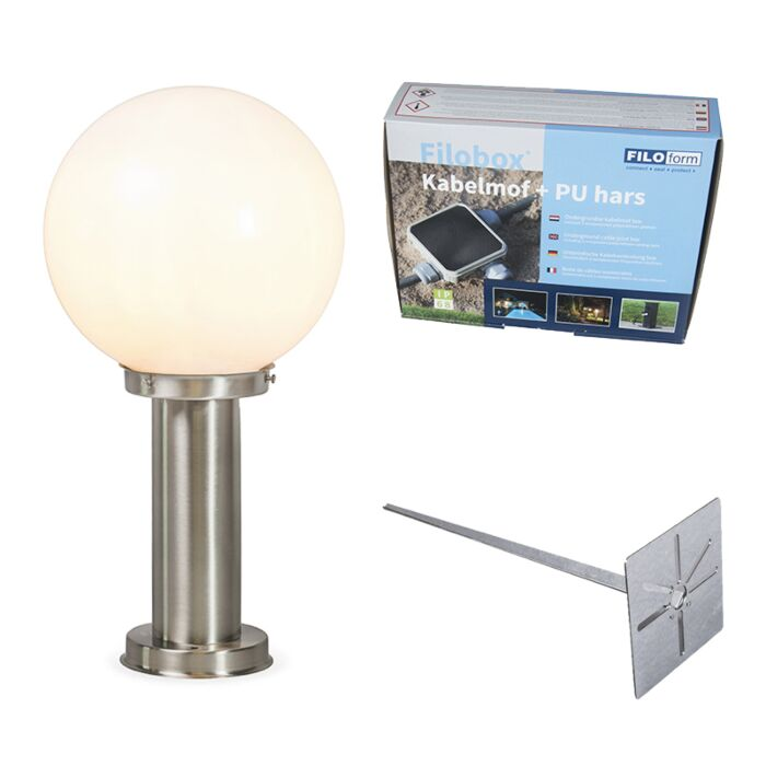 Outdoor-lamp-steel-stainless-steel-50-cm---Sfera-with-ground-pin-and-cable-sleeve