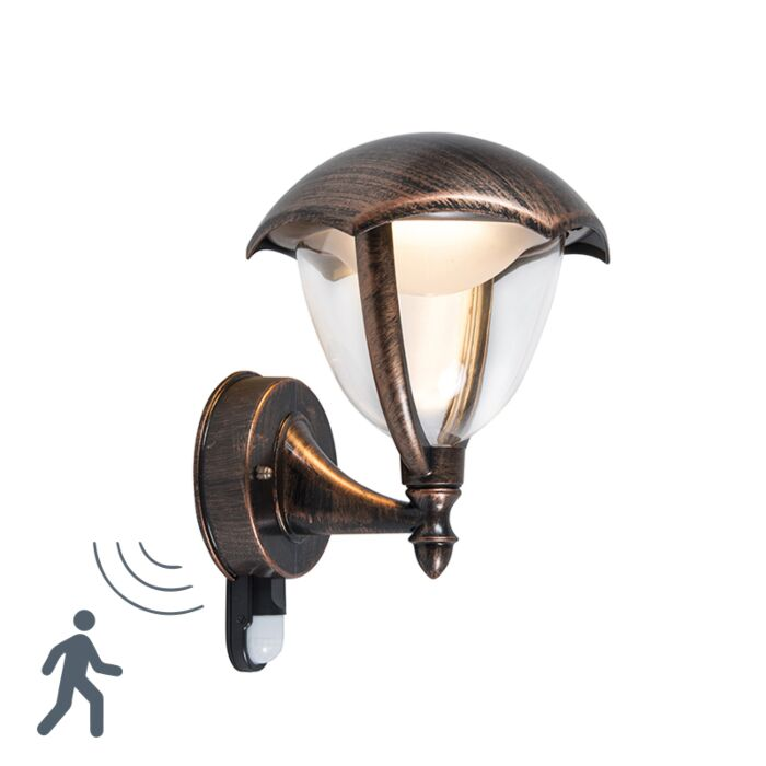Modern-Outdoor-Wall-Lamp-Up-Antique-Rust-with-Motion-Sensor-incl.-LED---Cappe