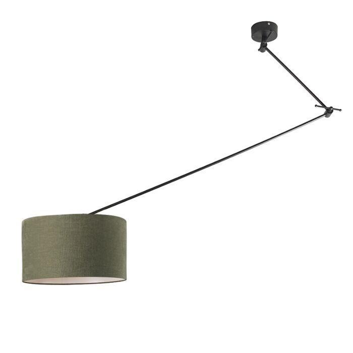 Hanging-lamp-black-with-shade-35-cm-green-adjustable---Blitz-I