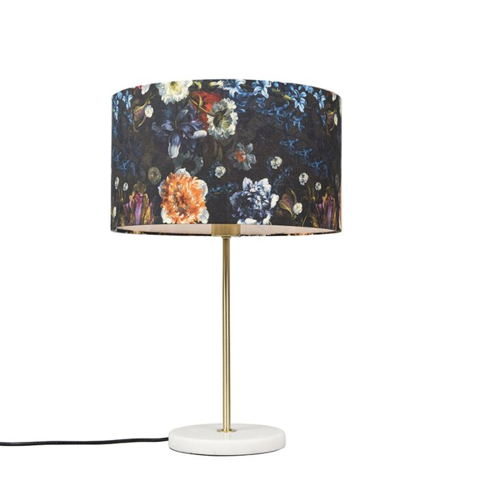 Modern-table-lamp-brass-with-flora-shade-35-cm---Kaso