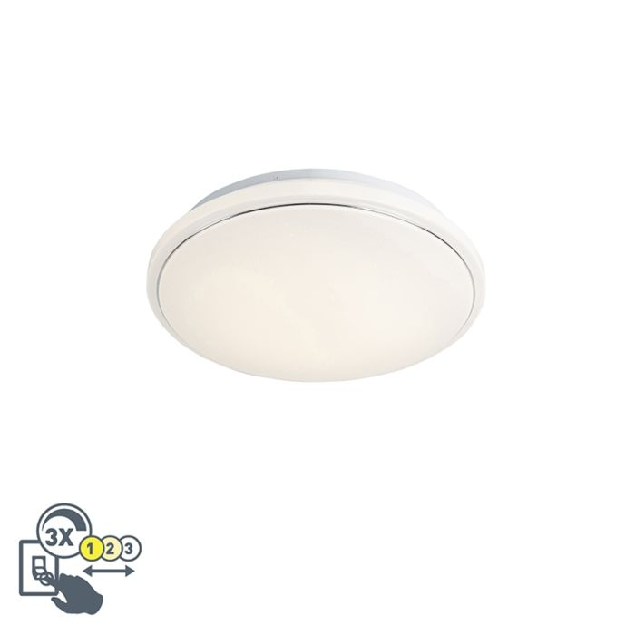 Modern-Round-Ceiling-Lamp-44cm-White-with-Starry-Sky-incl-LED-32W---Mars