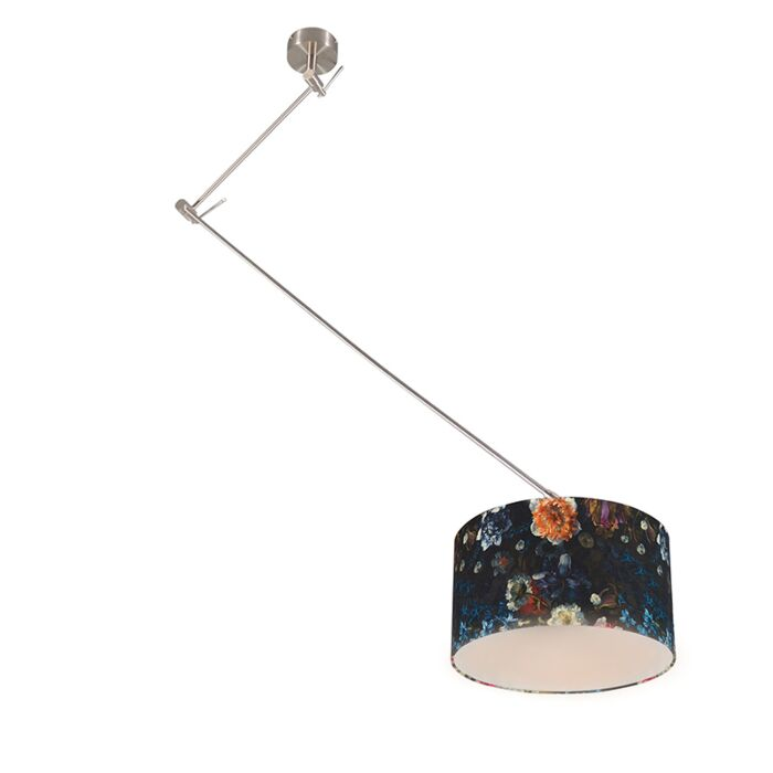 Modern-hanging-lamp-steel-with-flora-shade-35-cm---Blitz-1