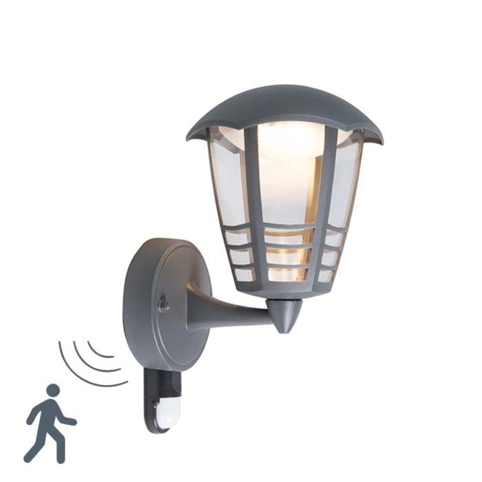 Modern-Outdoor-Wall-Lamp-Dark-Grey-with-Motion-Sensor-incl.-LED---Mara