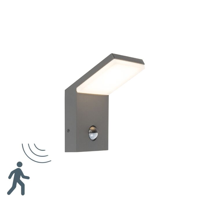 Modern-Outdoor-Wall-Lamp-Dark-Grey-with-Motion-Sensor-incl.-LED---Mapi