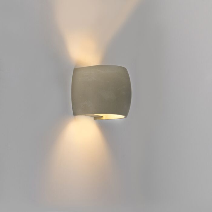 Country-Curve-Wall-Lamp-Concrete/Stone-Grey-IP54-incl.-LED---Albufeira