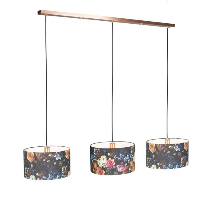 Pendant-Lamp-Combi-3-Copper-with-Flora-Cylinder-Shade