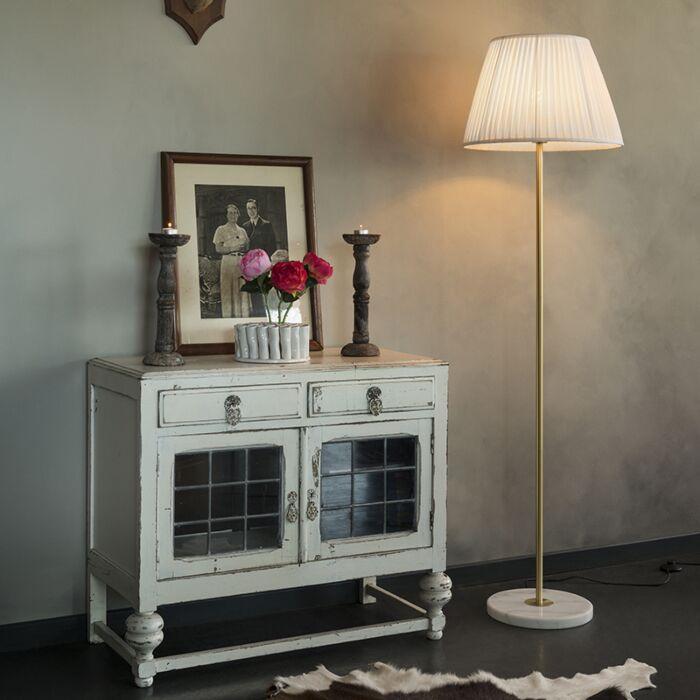 Retro-floor-lamp-brass-with-Pleated-shade-cream-45-cm---Kaso