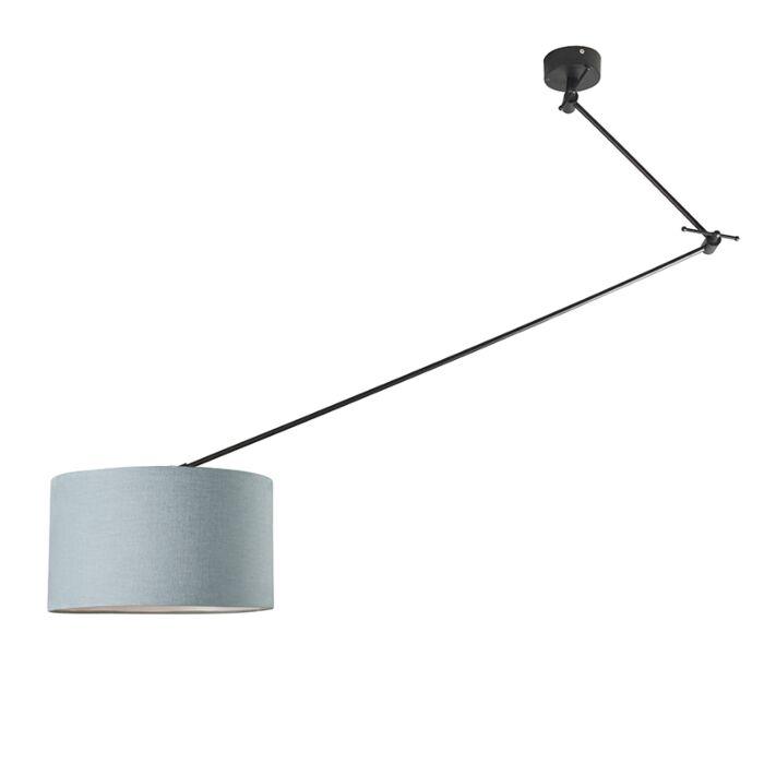 Hanging-lamp-black-with-shade-35-cm-light-blue-adjustable---Blitz-I