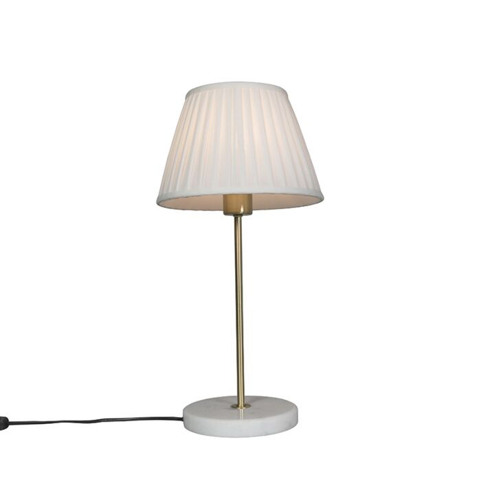 Retro-table-lamp-brass-with-Pleated-shade-cream-25-cm---Kaso