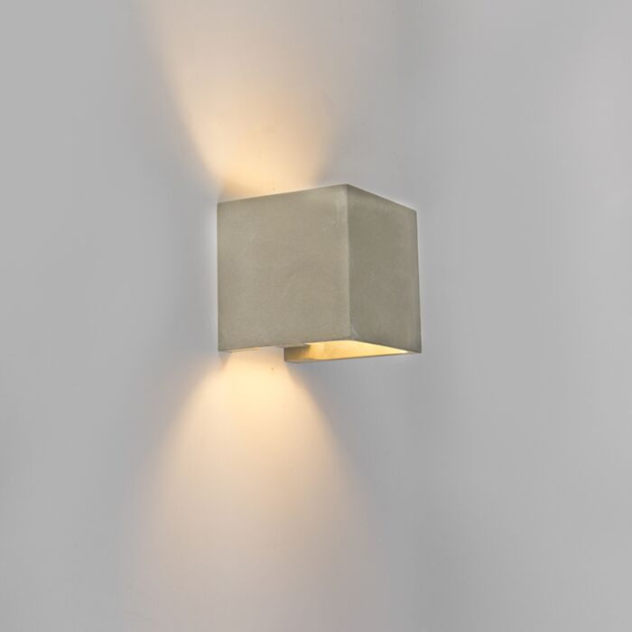 Country-Square-Wall-Lamp-Concrete-/Stone-Grey-IP54-incl.-LED---Alban