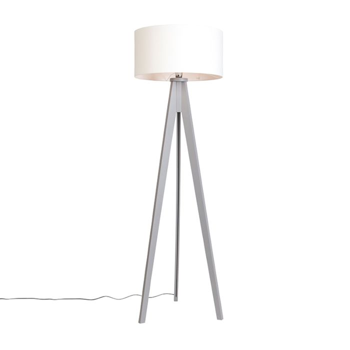 Floor-Lamp-Tripod-Classic-Grey-with-Cylinder-Shade-Off-White