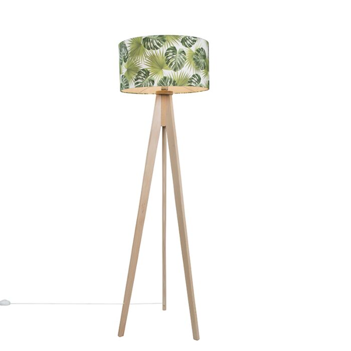 Floor-Lamp-Tripod-Classic-Natural-with-Leaf-Cylinder-Shade