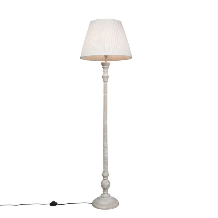 Country-floor-lamp-gray-with-white-pleated-shade---Classico