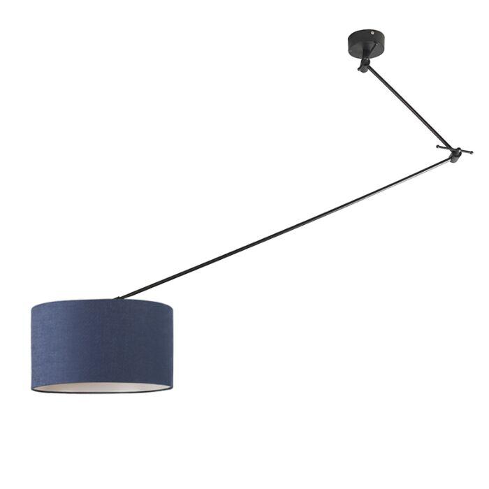 Hanging-lamp-black-with-shade-35-cm-blue-adjustable---Blitz-I