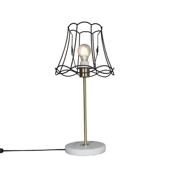 Retro-table-lamp-brass-with-Granny-frame-black-25-cm---Kaso