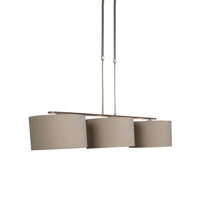 Modern-hanging-lamp-steel-with-shade-beige---Combi-3-Deluxe