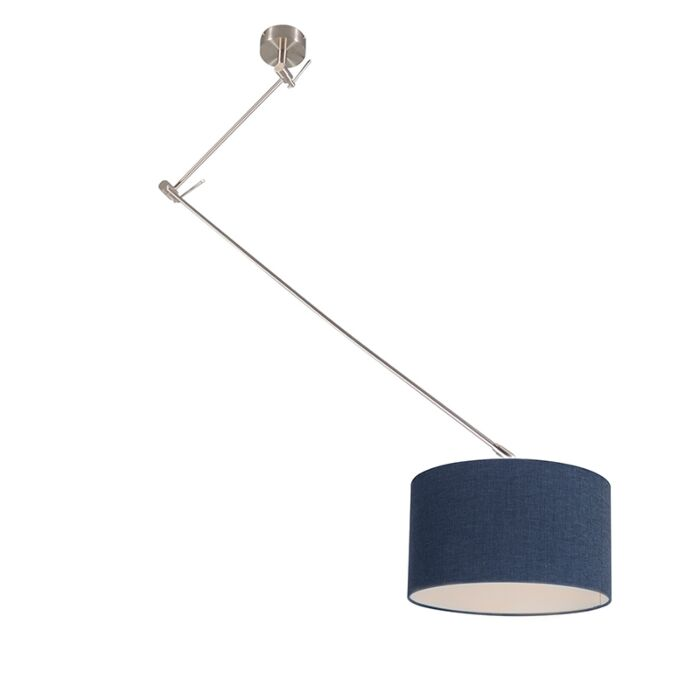 Hanging-lamp-steel-with-shade-35-cm-blue-adjustable---Blitz-I
